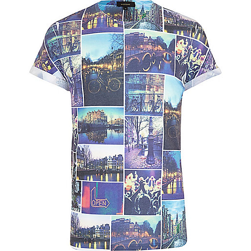 Blue Amsterdam photo collage print t-shirt