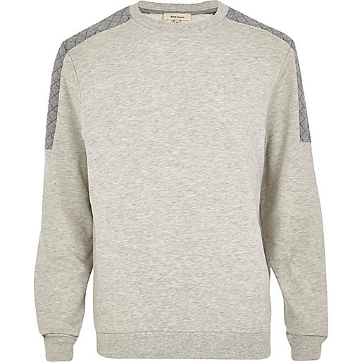Ecru quilted shoulder sweatshirt