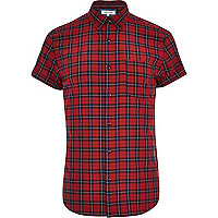 Red tartan short sleeve shirt