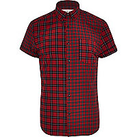 Red mixed tartan print short sleeve shirt