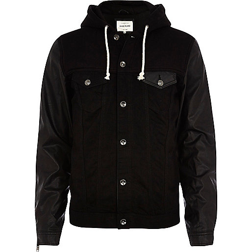 Black PU sleeve hooded denim jacket