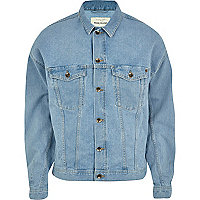 Light wash oversized denim jacket