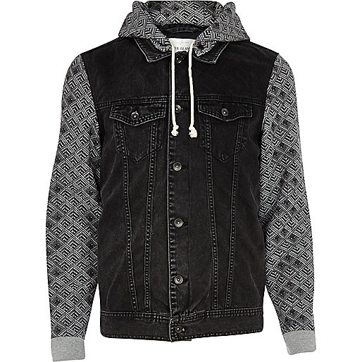 Black aztec print sleeve denim jacket