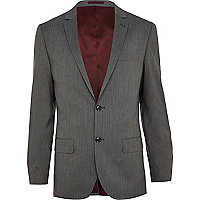 Grey stripe slim suit jacket