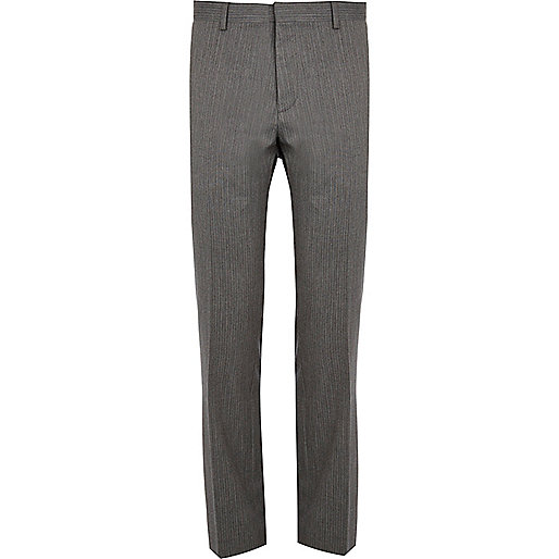 Grey stripe slim suit trousers