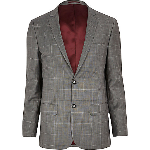 Grey window check skinny suit jacket