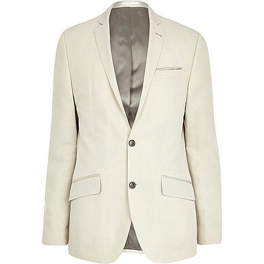 White slim suit jacket