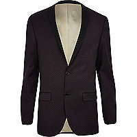Dark purple jacquard tux blazer