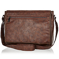 Brown mottled flap over messenger bag