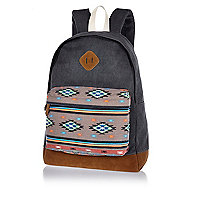 Grey aztec print pocket backpack