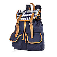Navy stripe contrast trim backpack