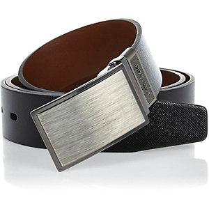 Black brushed metal plate belt