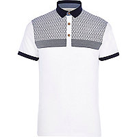 White geometric tile print yoke polo shirt