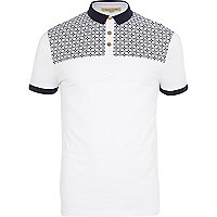 White tile print yoke polo shirt