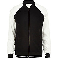 Black and white mesh two-tone bomber jacket