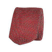 Dark red polka dot tie