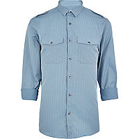 Blue stripe military shirt
