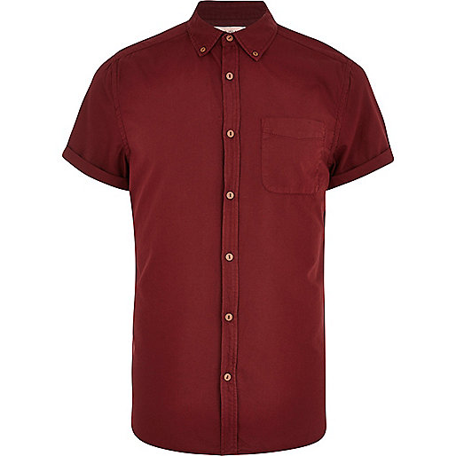 Dark red short sleeve Oxford shirt