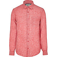 Red linen long sleeve shirt