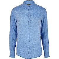 Blue long sleeve linen shirt