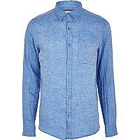 Blue long sleeve linen shirt