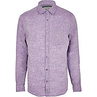 Lilac linen long sleeve shirt