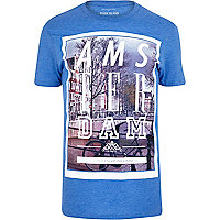 Blue Amsterdam bicycle print t-shirt