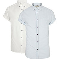 White and light blue short sleeve shirt pack