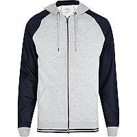 Grey marl mesh raglan sleeve hoodie