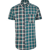 Teal mixed check short sleeve shirt