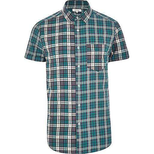 Teal mixed check short sleeve shirt