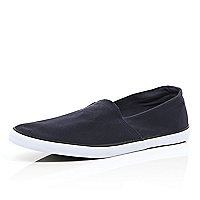 Navy blue slip on plimsolls
