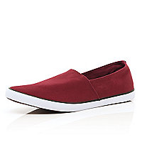 Dark red slip on plimsolls
