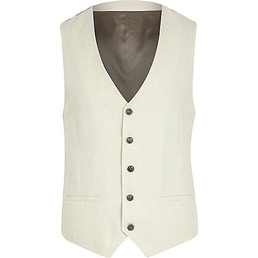 White slim waistcoat