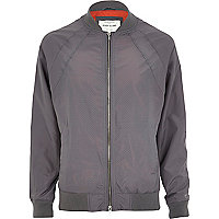 Grey perforated bomber jacket