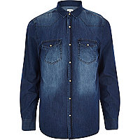 Dark wash Western denim shirt