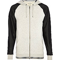 Ecru mesh sleeve zip through hoodie