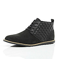 Black quilted panel desert boots