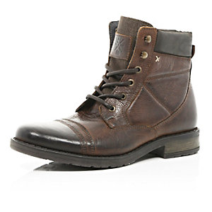 Brown contrast panel lace up military boots