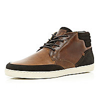 Brown contrast panel high tops
