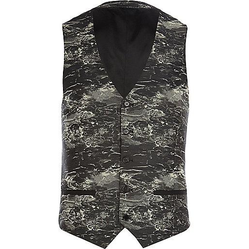 Black marble print waistcoat
