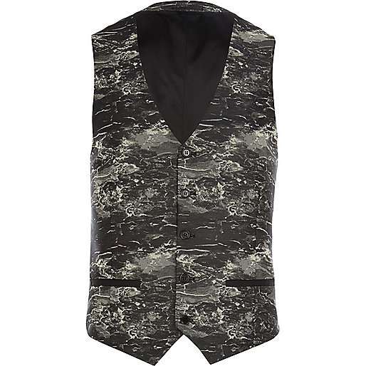 Black marble print vest