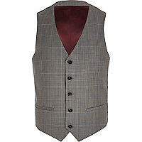 Grey window check waistcoat