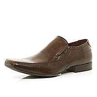 Brown square toe slip on shoes