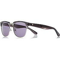 Dark grey retro premium sunglasses with case