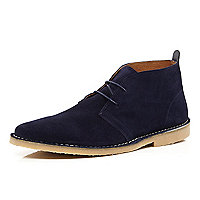 Navy lace up desert boots