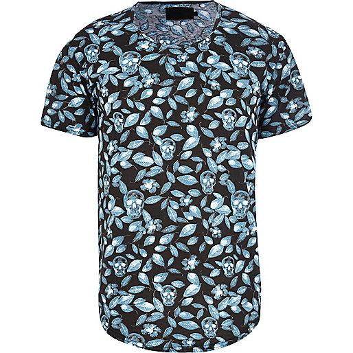 Black Vito floral skull print t-shirt