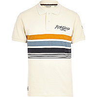 Ecru Jack & Jones Vintage stripe polo shirt