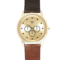 Tan classic gold tone face watch