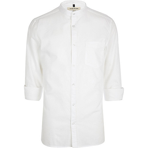 White grandad collar shirt